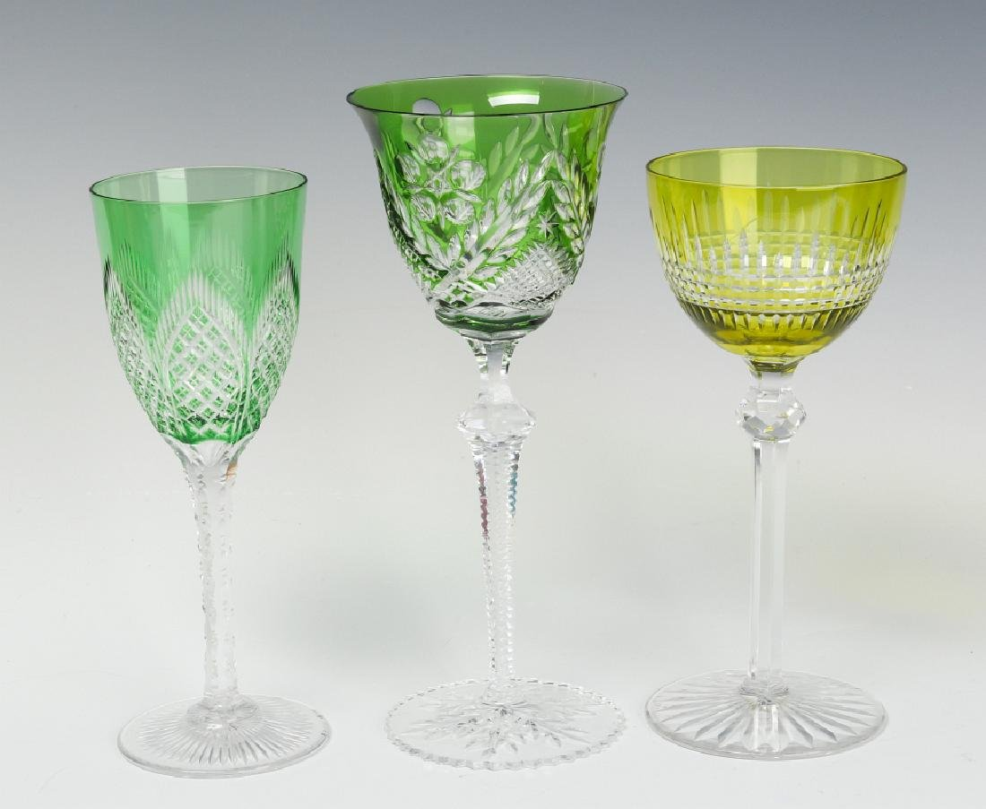 THREE GREEN CUT TO CLEAR WINE GOBLETS