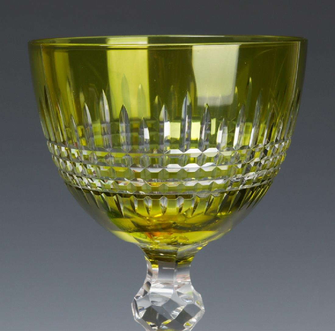 THREE GREEN CUT TO CLEAR WINE GOBLETS - 3