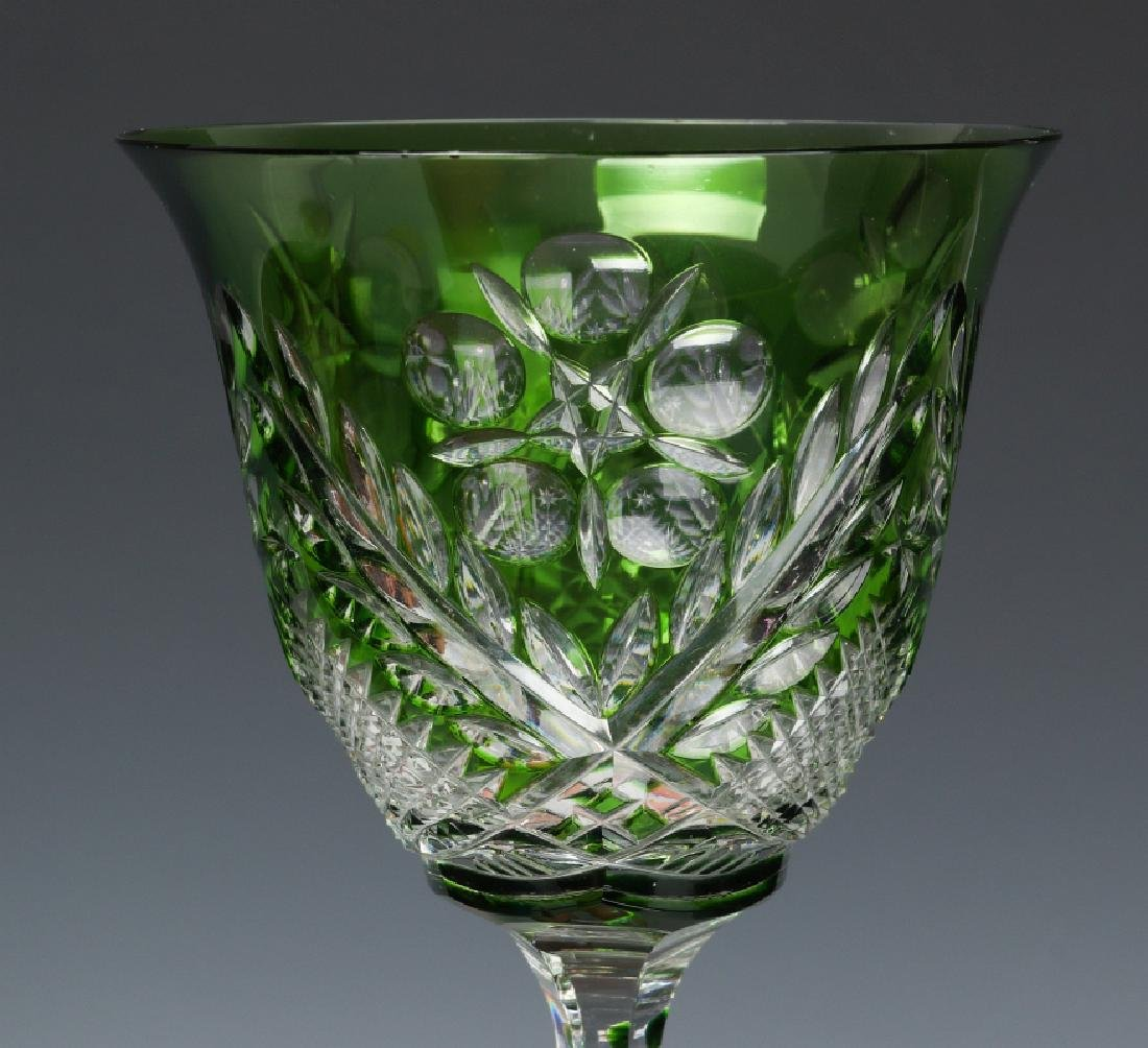 THREE GREEN CUT TO CLEAR WINE GOBLETS - 4