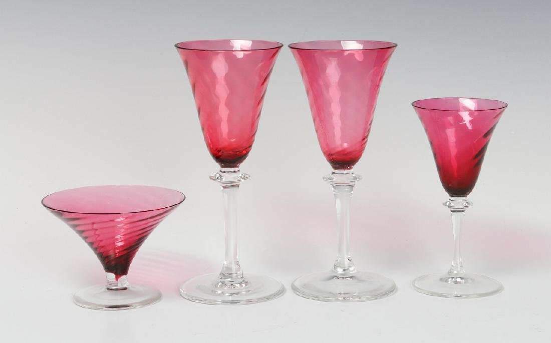 FOUR STEUBEN CRANBERRY OPTIC SWIRL STEMS