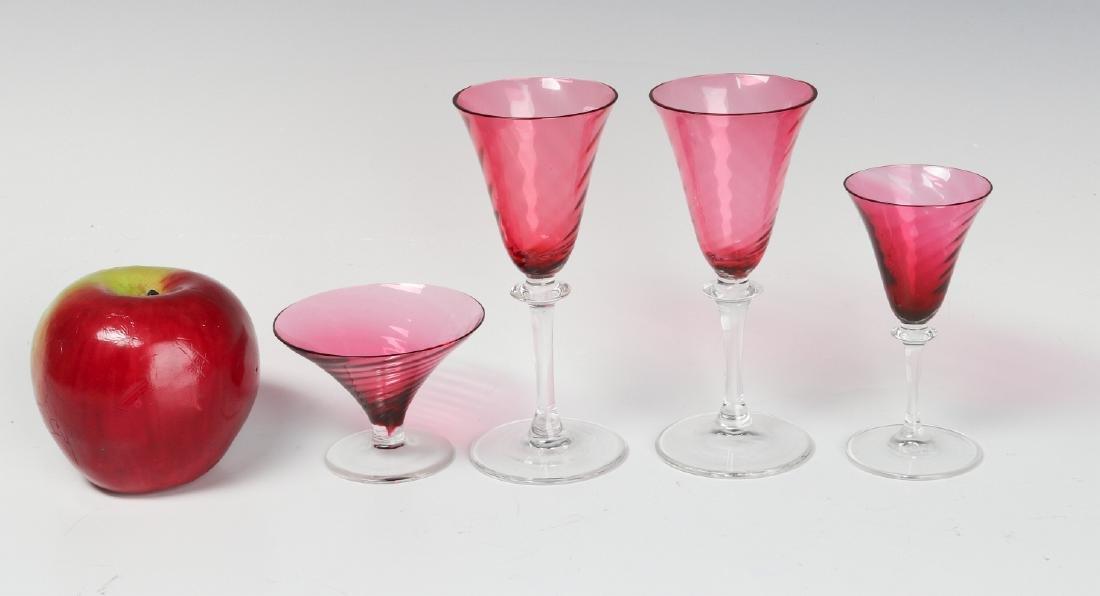 FOUR STEUBEN CRANBERRY OPTIC SWIRL STEMS - 3