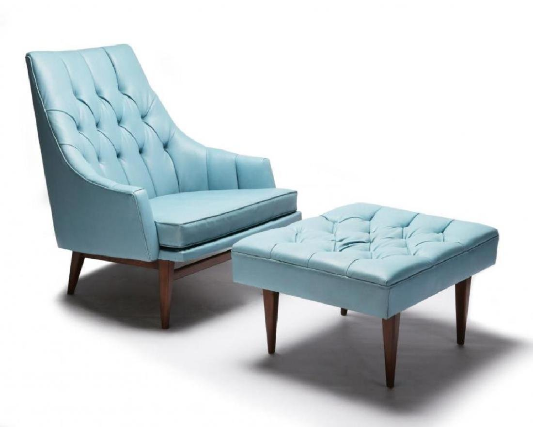 A MID 20TH CENTURY CHAIR AND OTTOMAN