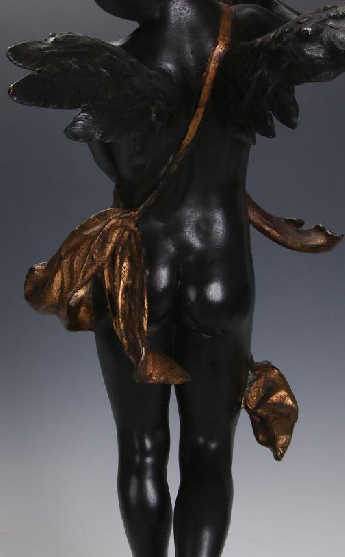 AN ANTIQUE 24-INCH PATINATED SPELTER CUPID FIGURE - 10