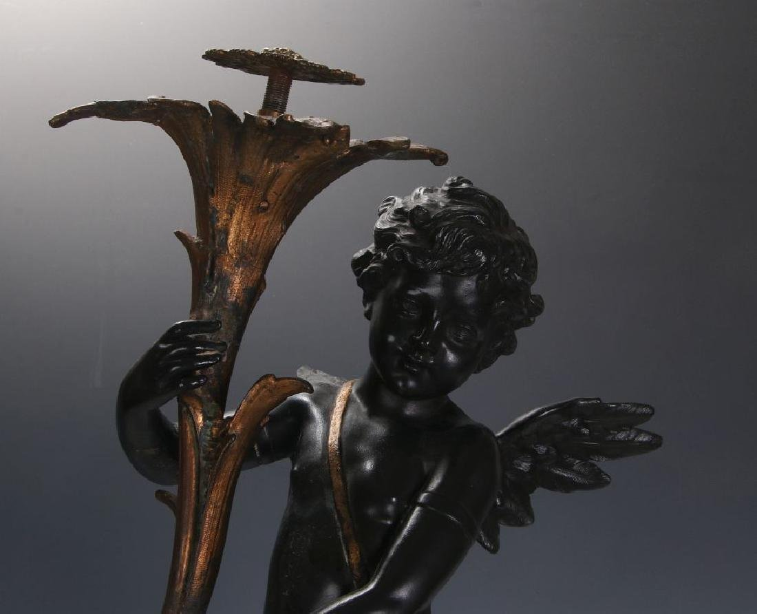 AN ANTIQUE 24-INCH PATINATED SPELTER CUPID FIGURE - 2