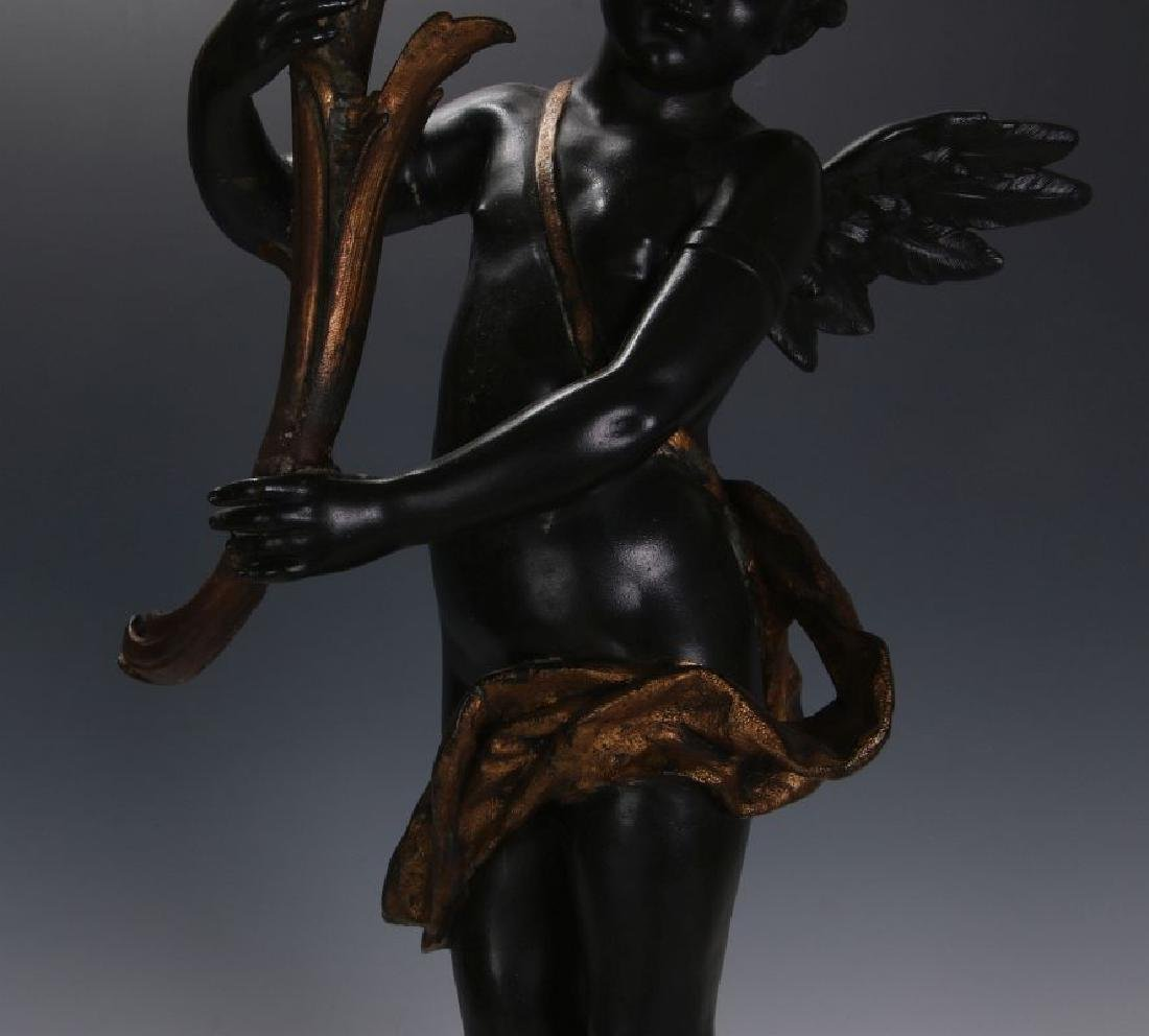 AN ANTIQUE 24-INCH PATINATED SPELTER CUPID FIGURE - 3