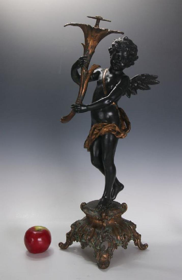 AN ANTIQUE 24-INCH PATINATED SPELTER CUPID FIGURE - 4