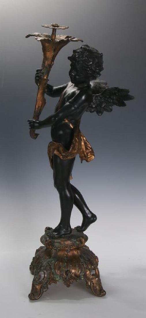 AN ANTIQUE 24-INCH PATINATED SPELTER CUPID FIGURE - 5