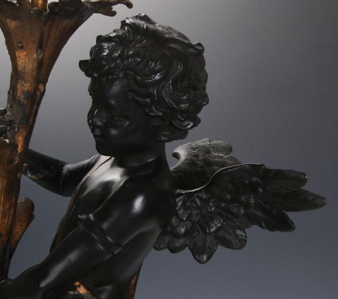 AN ANTIQUE 24-INCH PATINATED SPELTER CUPID FIGURE - 6