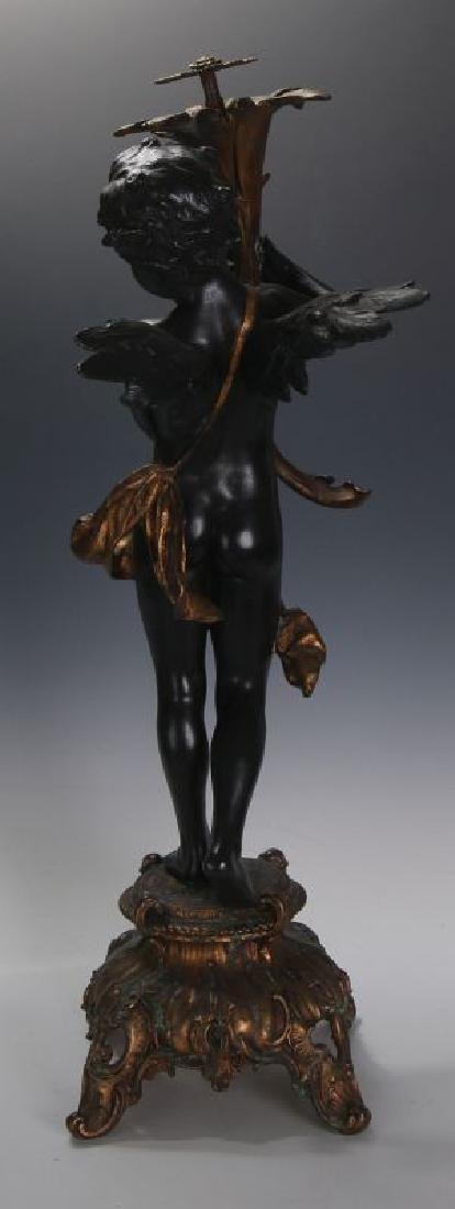 AN ANTIQUE 24-INCH PATINATED SPELTER CUPID FIGURE - 7