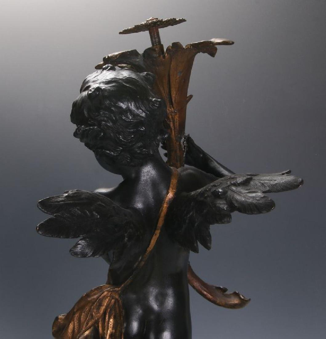 AN ANTIQUE 24-INCH PATINATED SPELTER CUPID FIGURE - 9