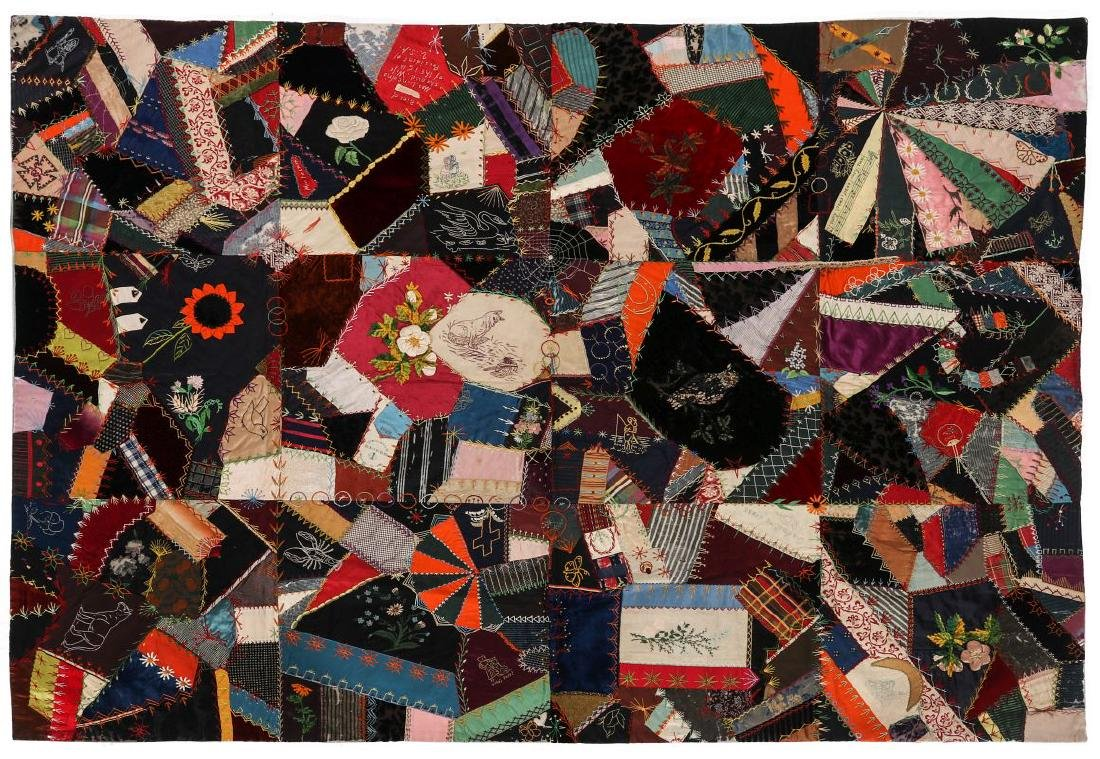 A 19TH C. CRAZY QUILT FILLED WITH VICTORIAN MOTIFS