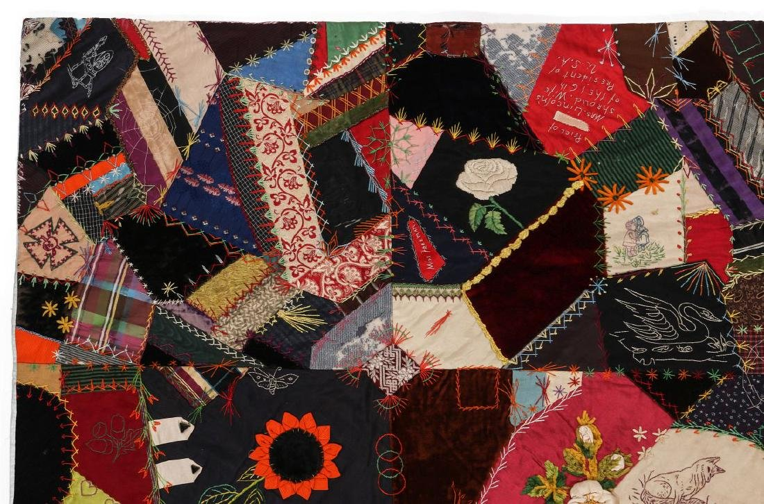 A 19TH C. CRAZY QUILT FILLED WITH VICTORIAN MOTIFS - 2