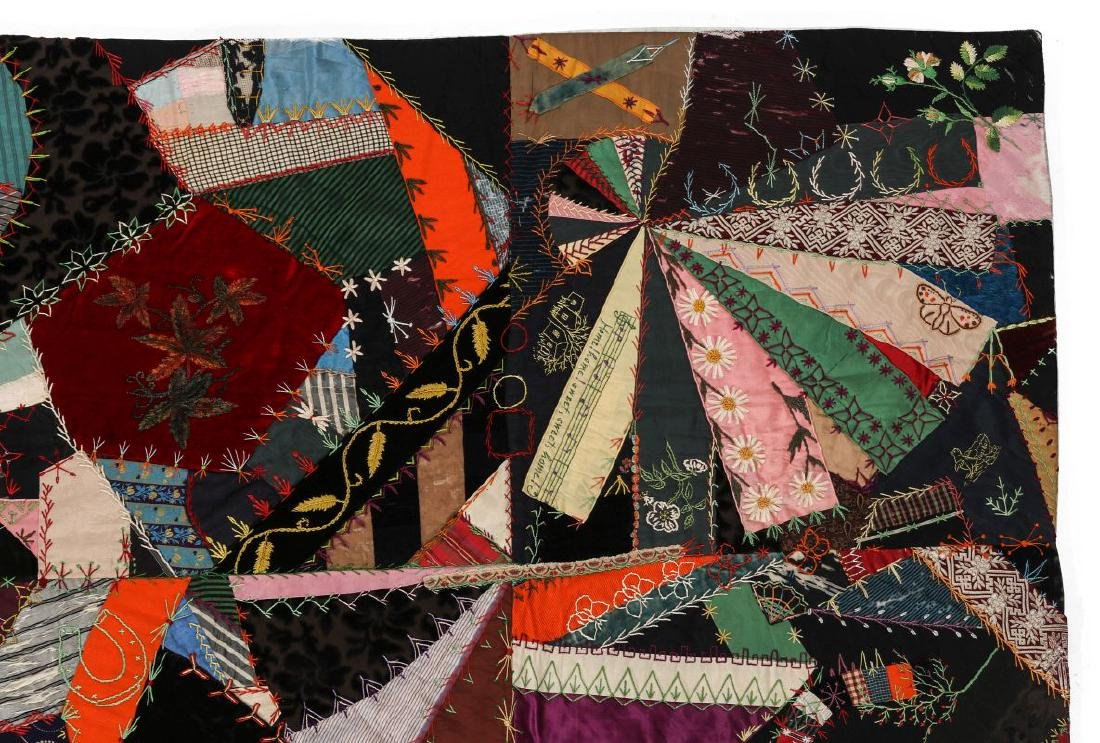 A 19TH C. CRAZY QUILT FILLED WITH VICTORIAN MOTIFS - 3
