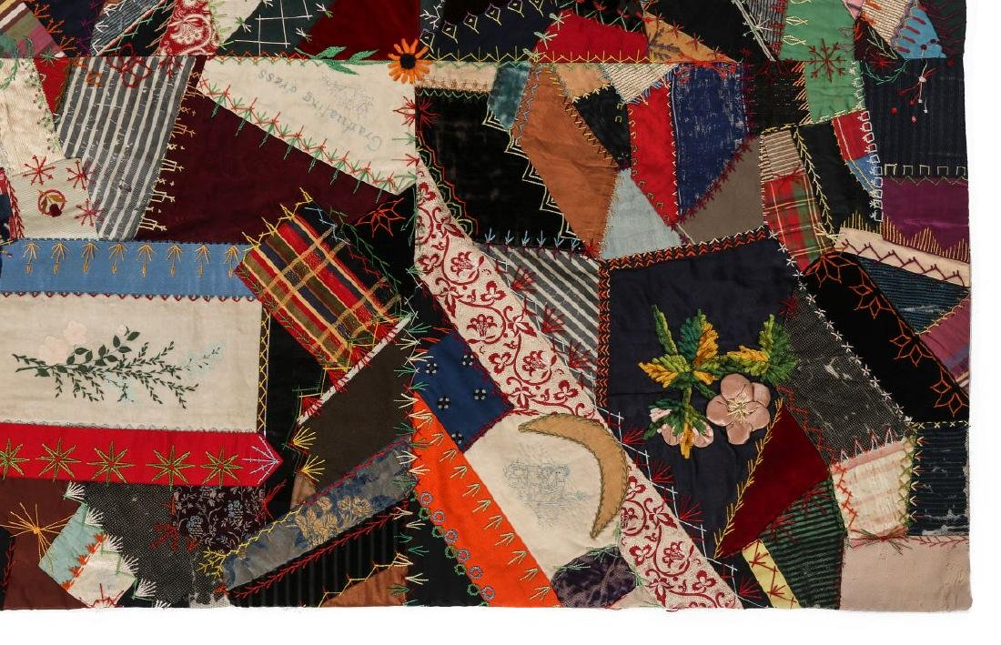 A 19TH C. CRAZY QUILT FILLED WITH VICTORIAN MOTIFS - 4