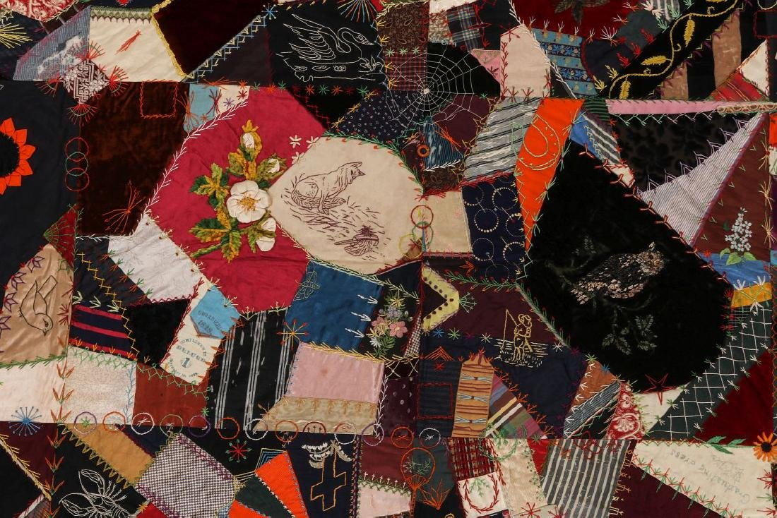 A 19TH C. CRAZY QUILT FILLED WITH VICTORIAN MOTIFS - 6