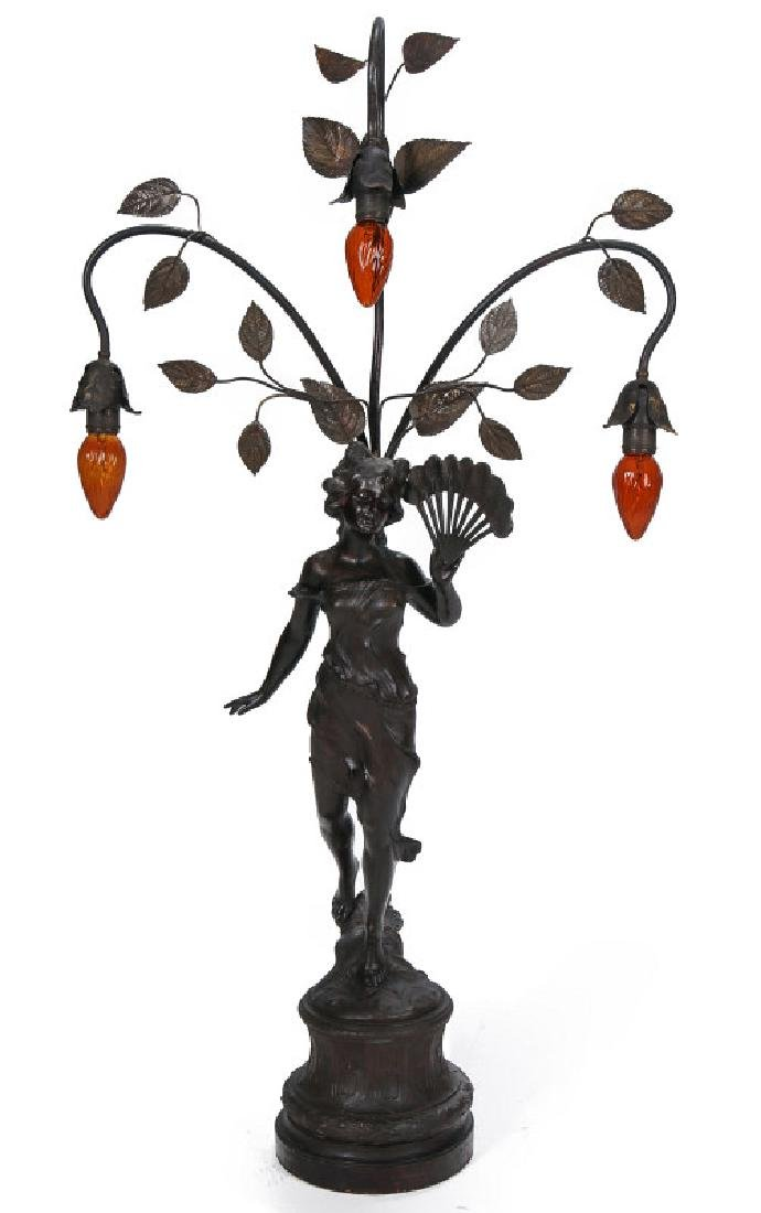 A VICTORIAN PATINATED SPELTER NEWELL POST LIGHT