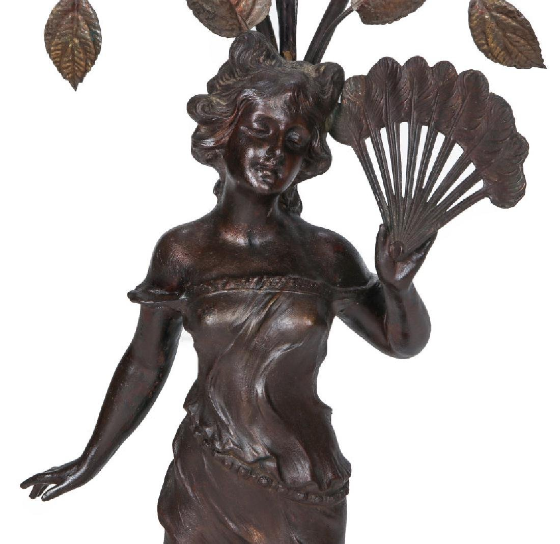 A VICTORIAN PATINATED SPELTER NEWELL POST LIGHT - 2