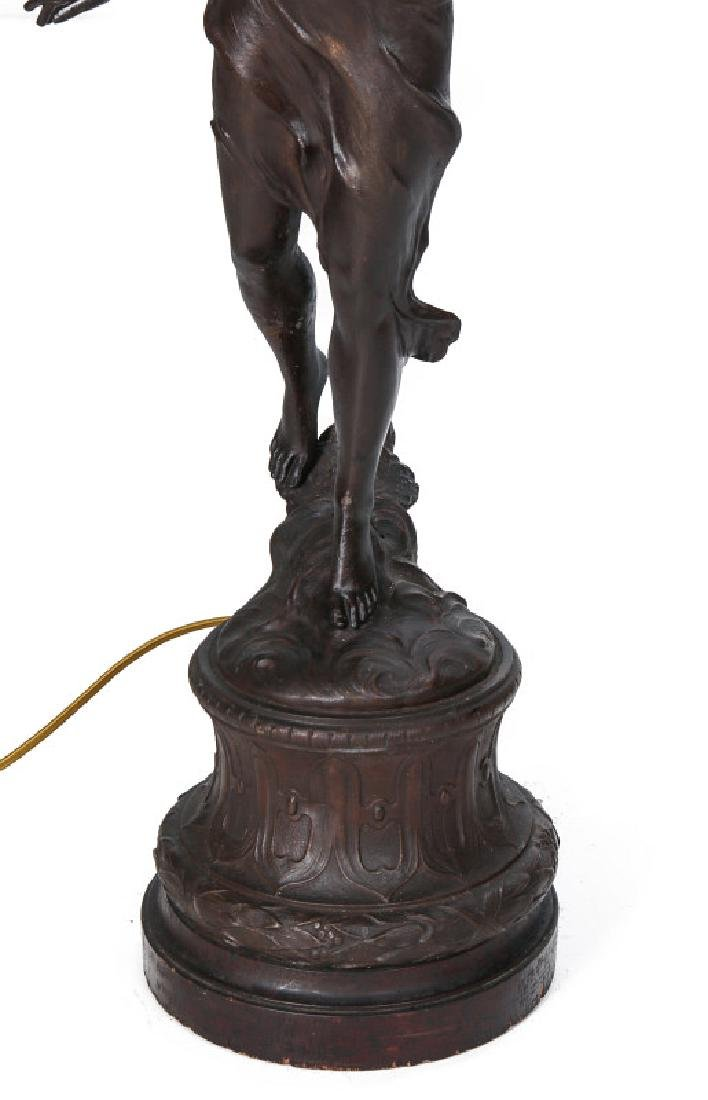 A VICTORIAN PATINATED SPELTER NEWELL POST LIGHT - 3