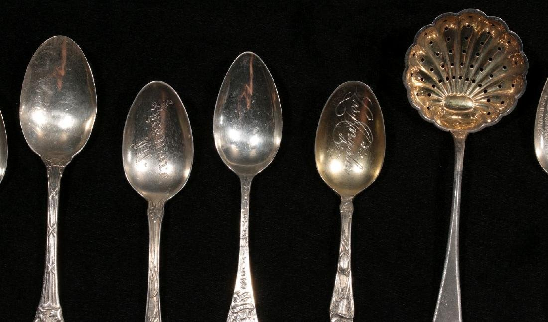 ESTATE LOT OF STERLING SILVER SOUVENIR SPOONS ETC - 4