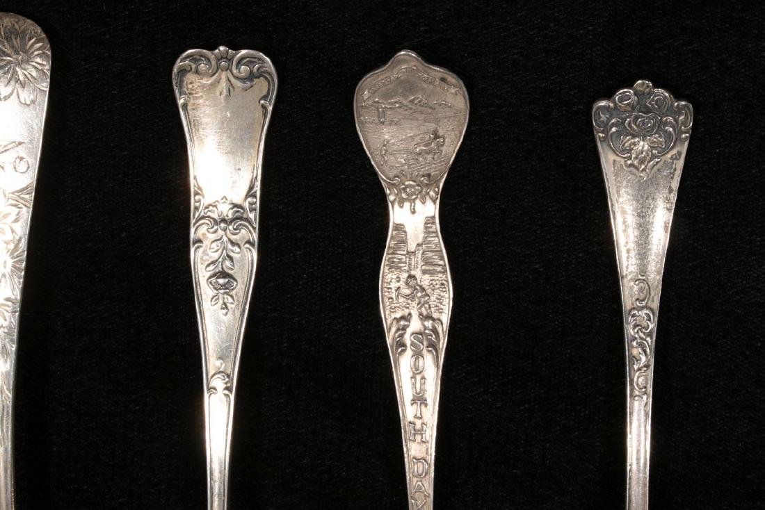 ESTATE LOT OF STERLING SILVER SOUVENIR SPOONS ETC - 6