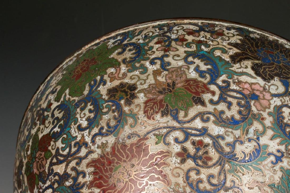 A CHINESE BRONZE JARDINIERE WITH CHAMPLEVE' ENAMEL - 10