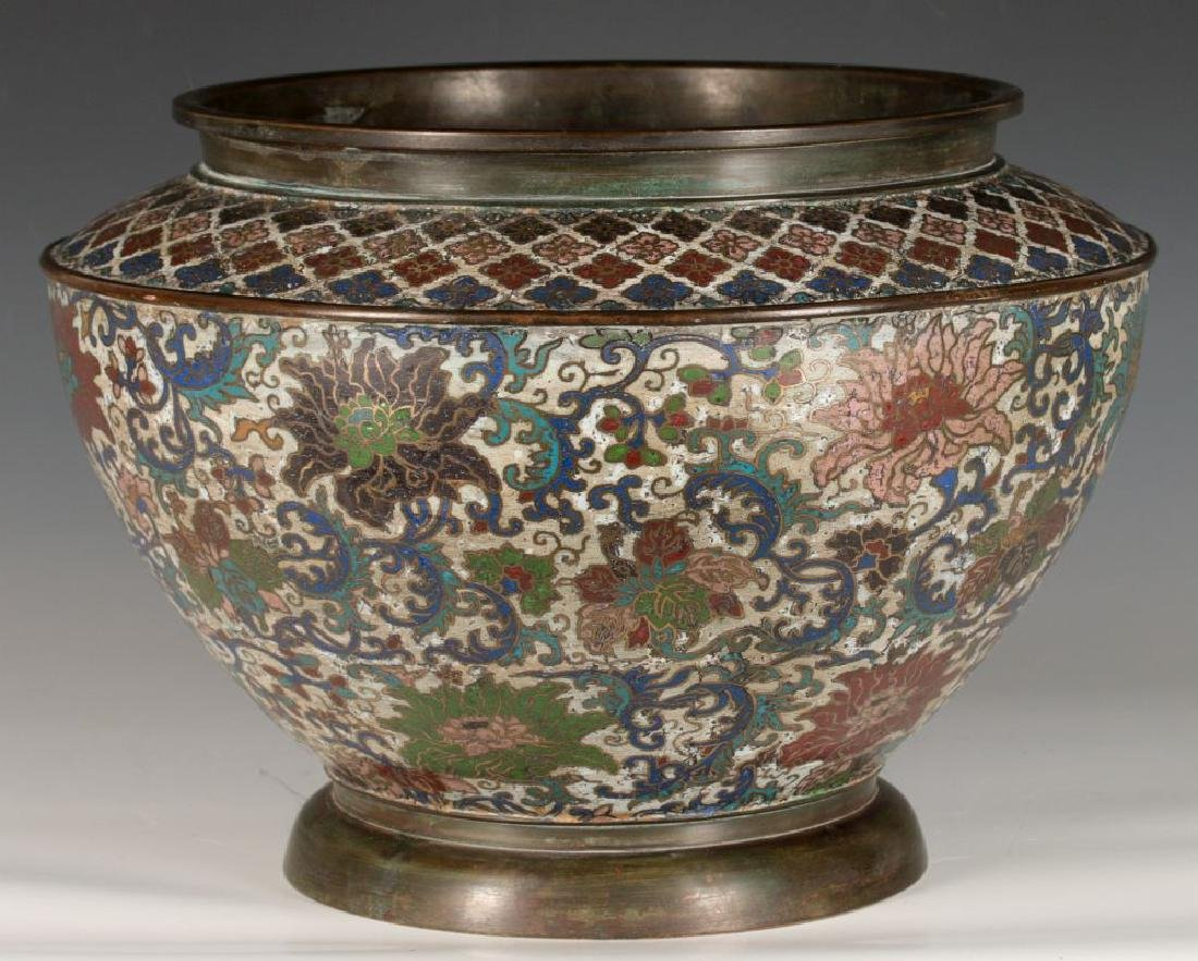 A CHINESE BRONZE JARDINIERE WITH CHAMPLEVE' ENAMEL - 2