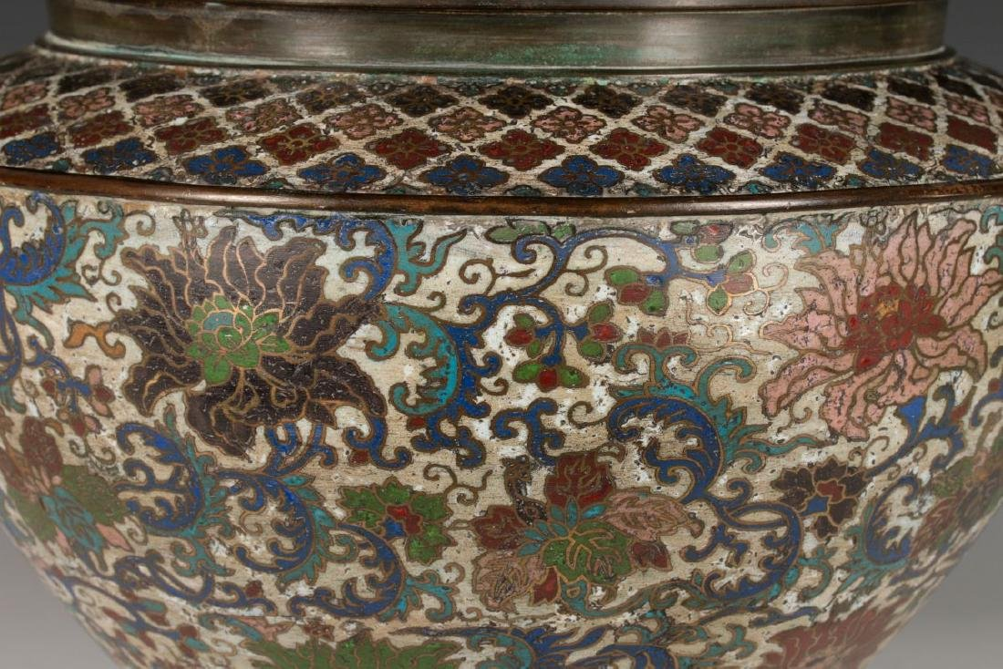 A CHINESE BRONZE JARDINIERE WITH CHAMPLEVE' ENAMEL - 3