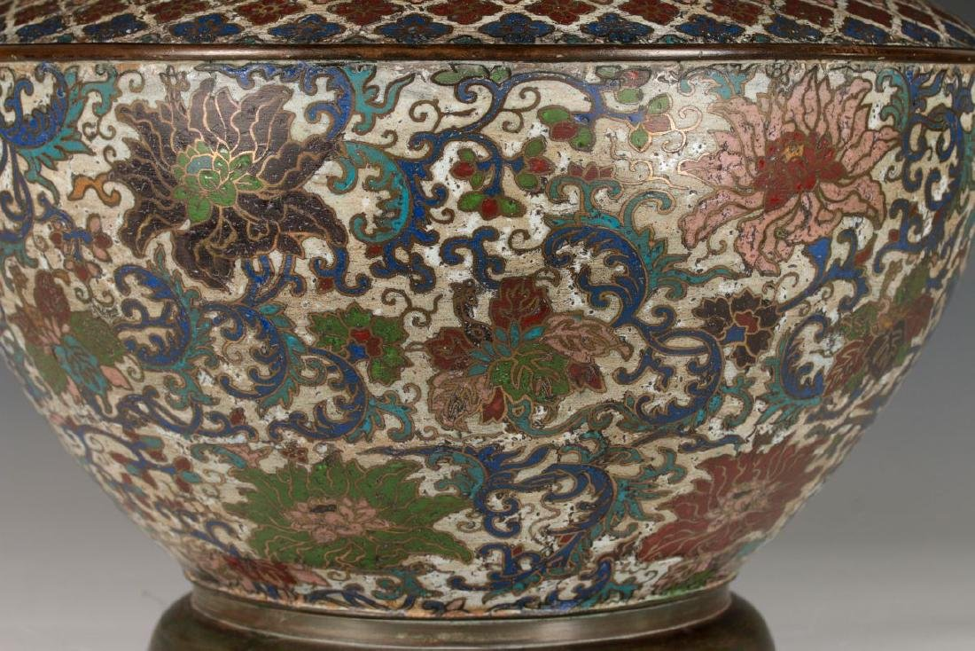 A CHINESE BRONZE JARDINIERE WITH CHAMPLEVE' ENAMEL - 4