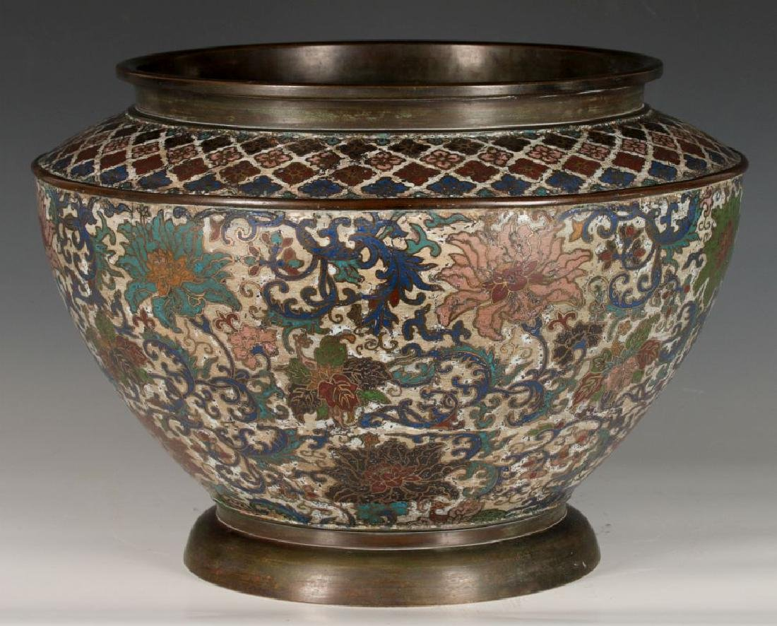 A CHINESE BRONZE JARDINIERE WITH CHAMPLEVE' ENAMEL - 5