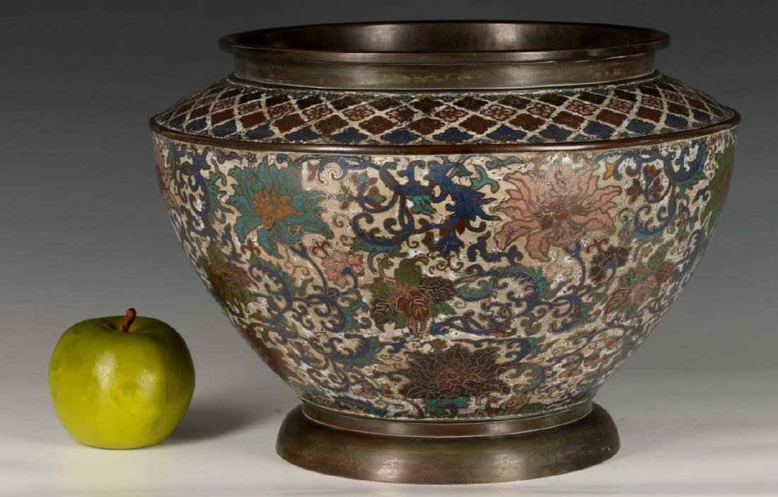 A CHINESE BRONZE JARDINIERE WITH CHAMPLEVE' ENAMEL - 6