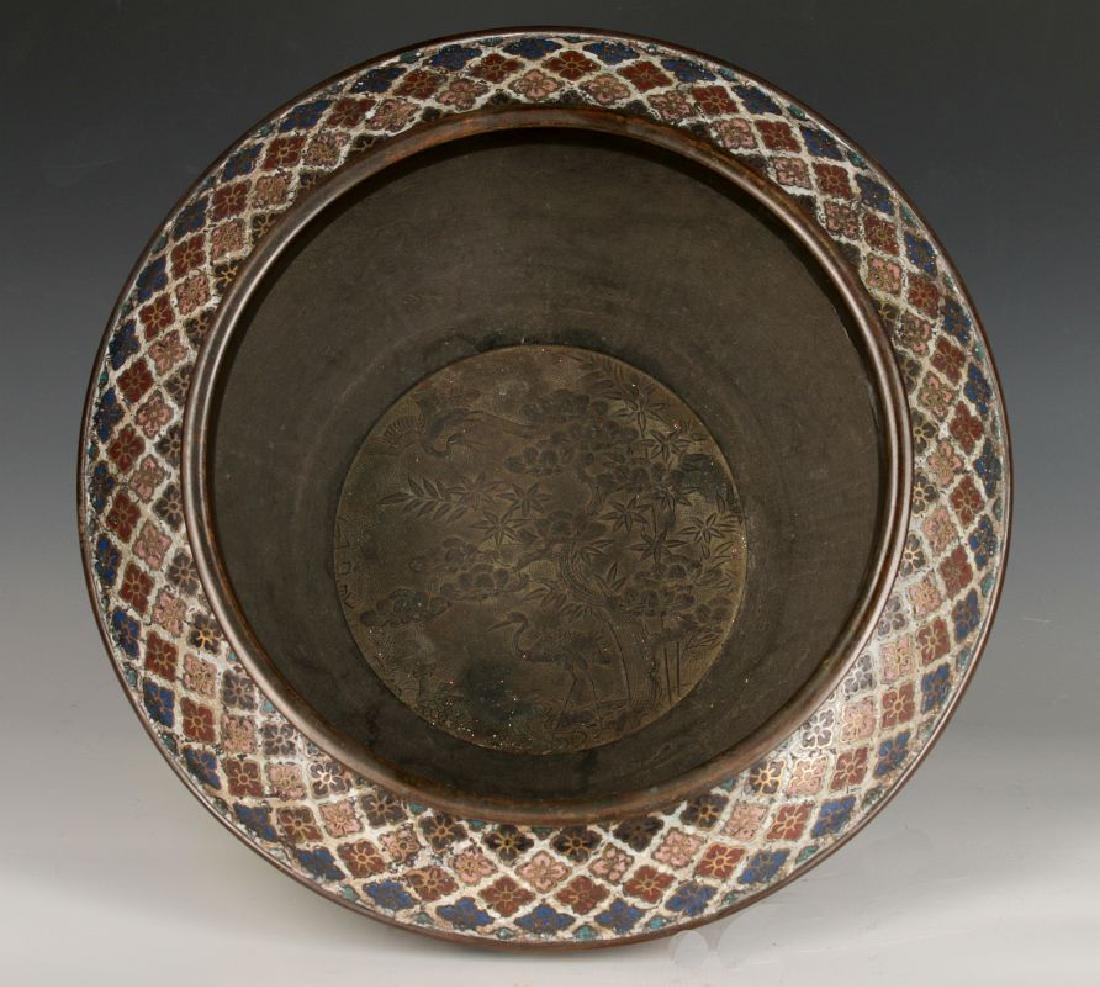 A CHINESE BRONZE JARDINIERE WITH CHAMPLEVE' ENAMEL - 7