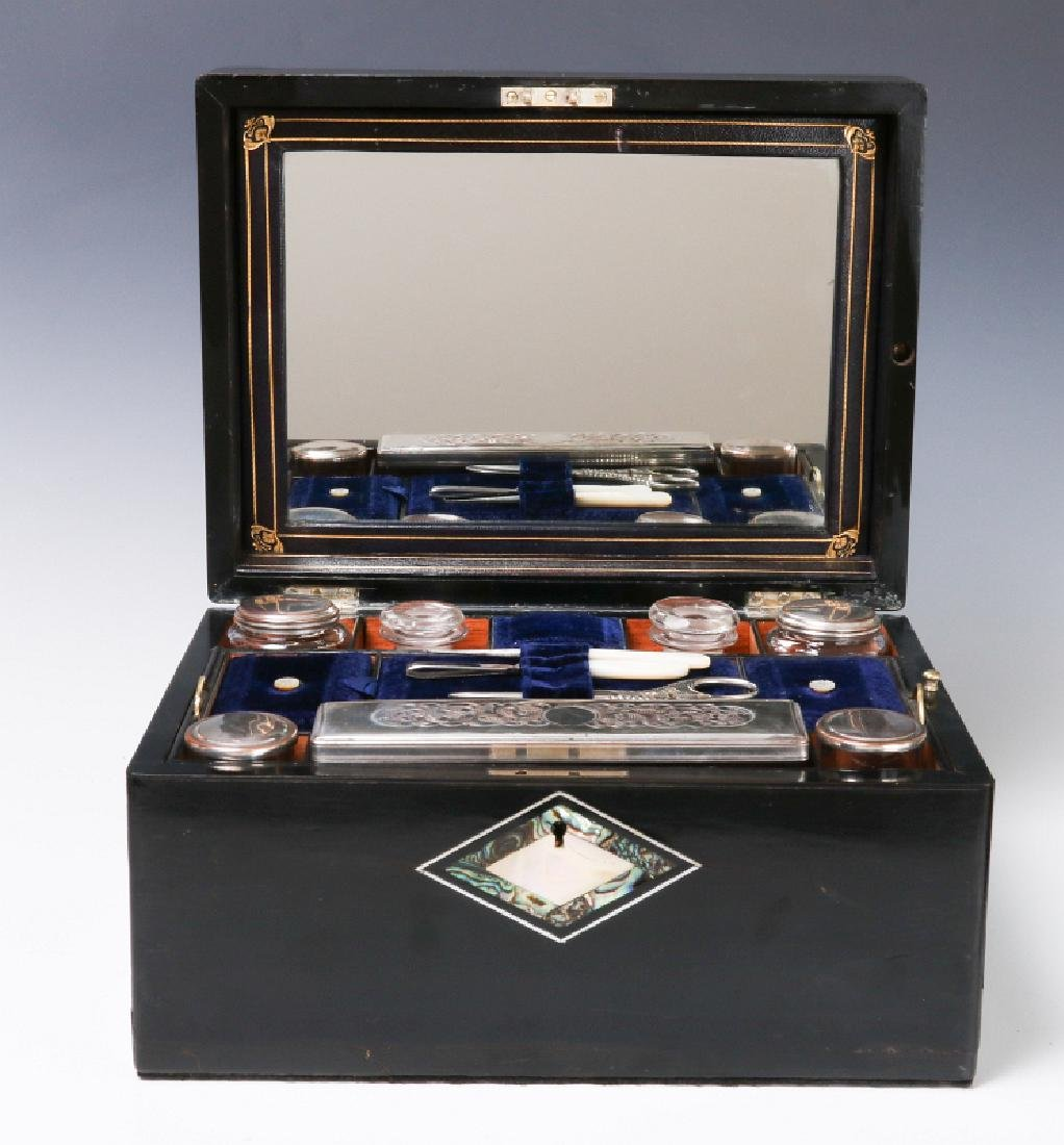 A VICTORIAN VANITY SET IN SHELL INLAID BOX