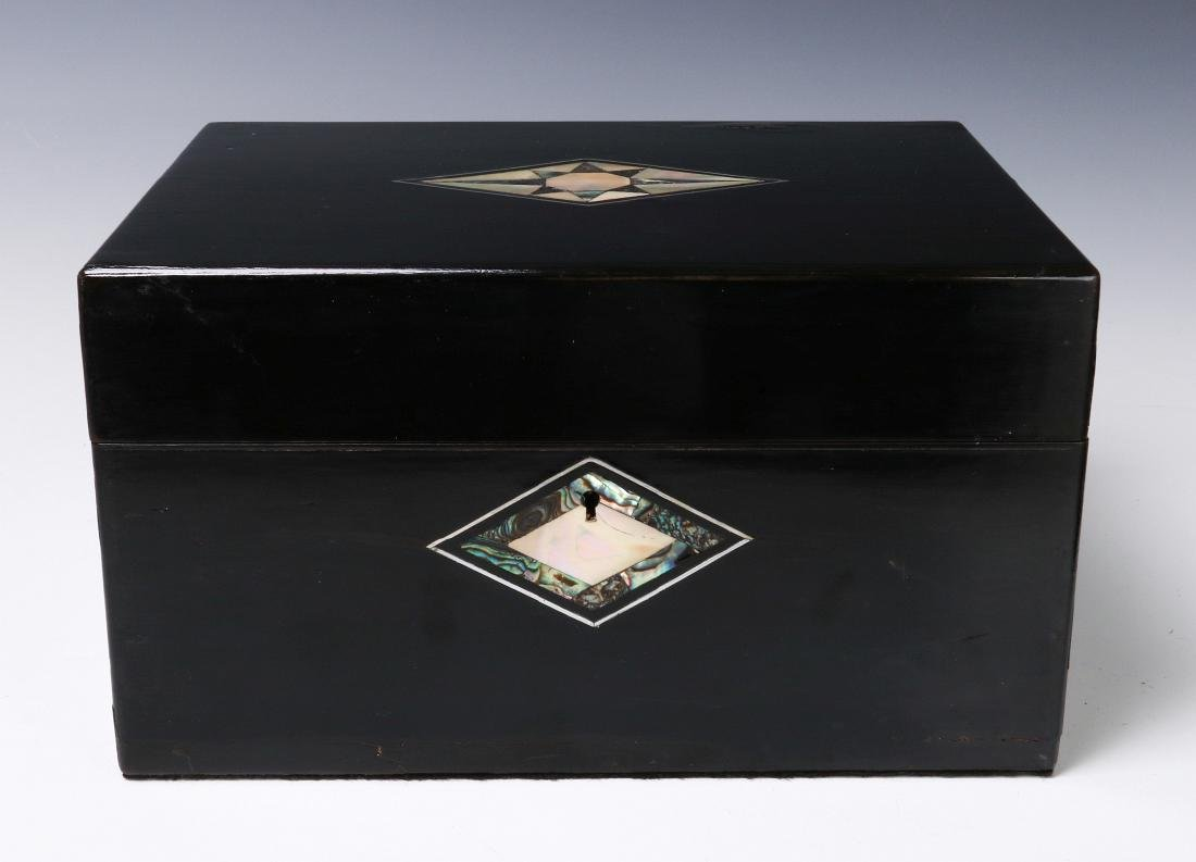 A VICTORIAN VANITY SET IN SHELL INLAID BOX - 2