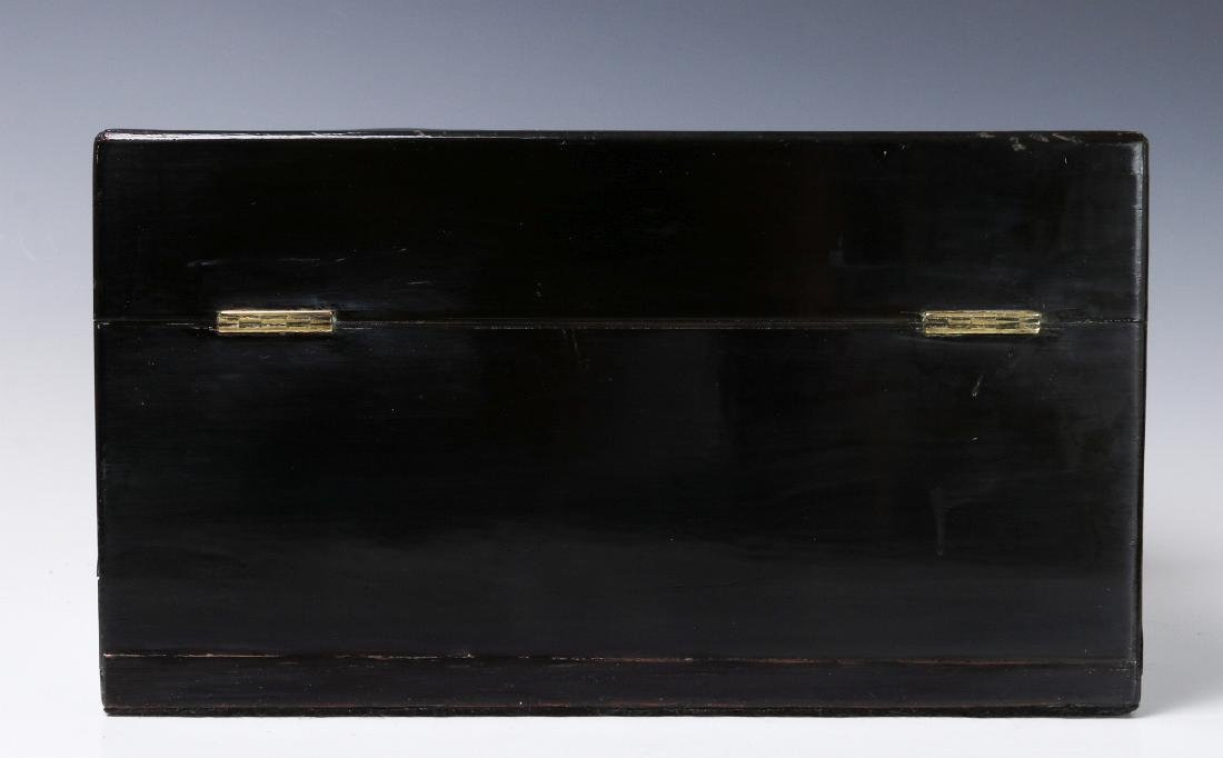 A VICTORIAN VANITY SET IN SHELL INLAID BOX - 4