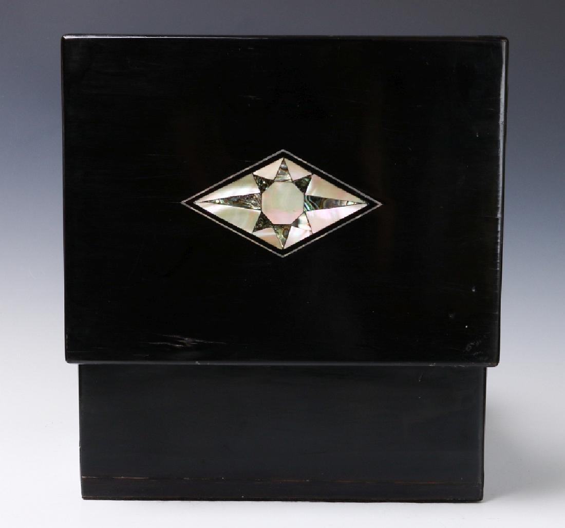 A VICTORIAN VANITY SET IN SHELL INLAID BOX - 7