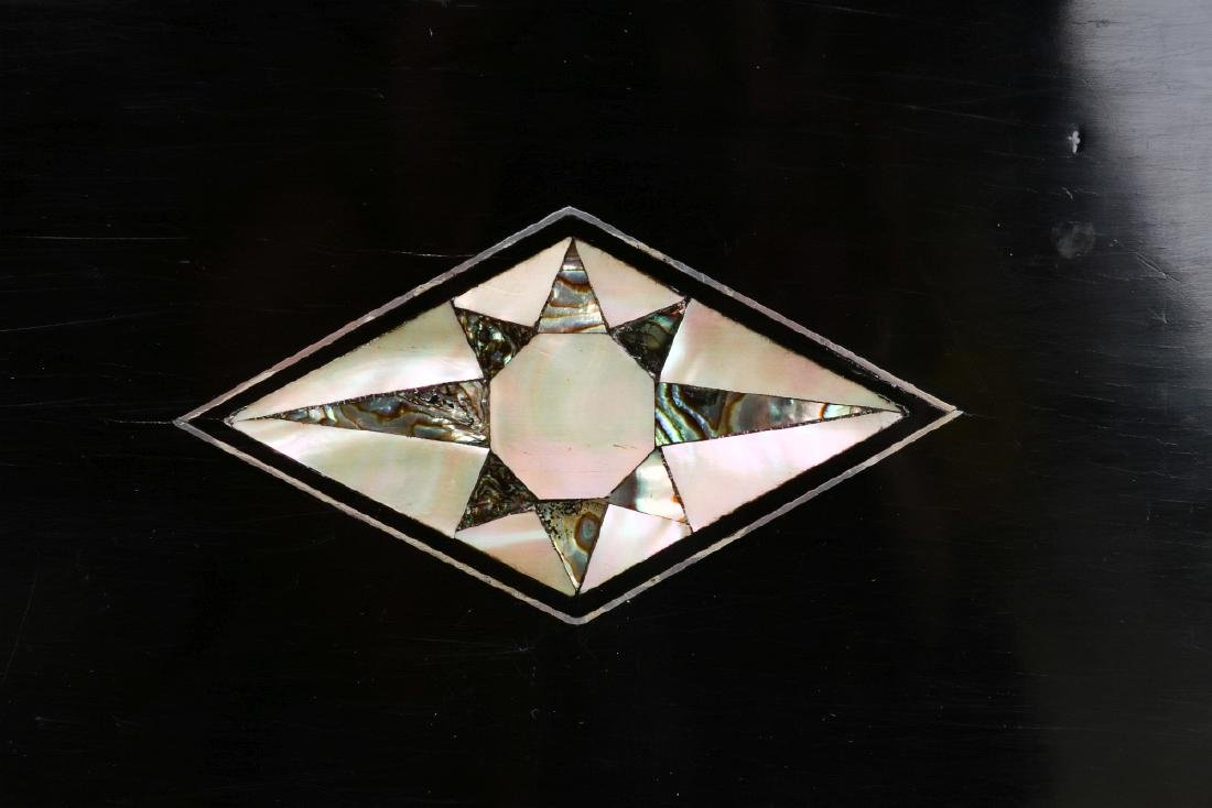 A VICTORIAN VANITY SET IN SHELL INLAID BOX - 8