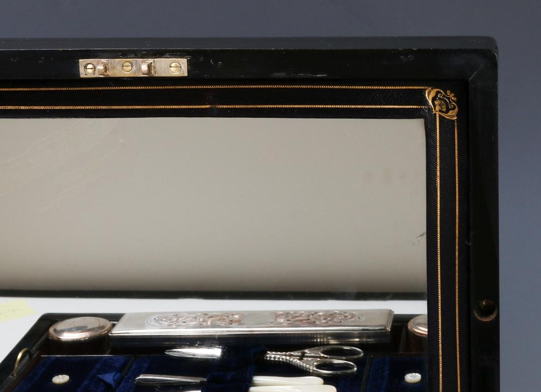 A VICTORIAN VANITY SET IN SHELL INLAID BOX - 9