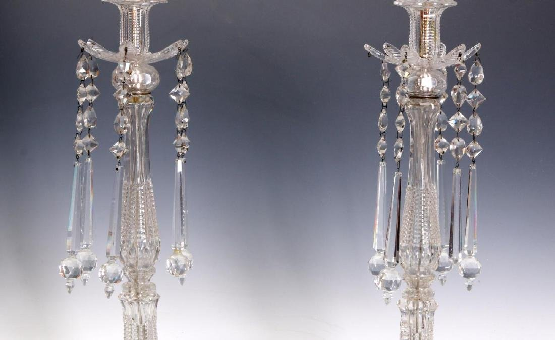 MAJORLY CUT CRYSTAL CANDLESTICK TABLE LAMPS