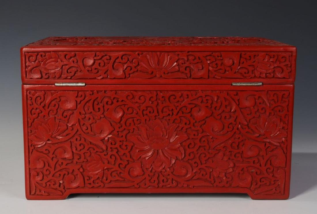 A LARGE CINNABAR JEWELRY CASKET WITH CLOISONNE - 7