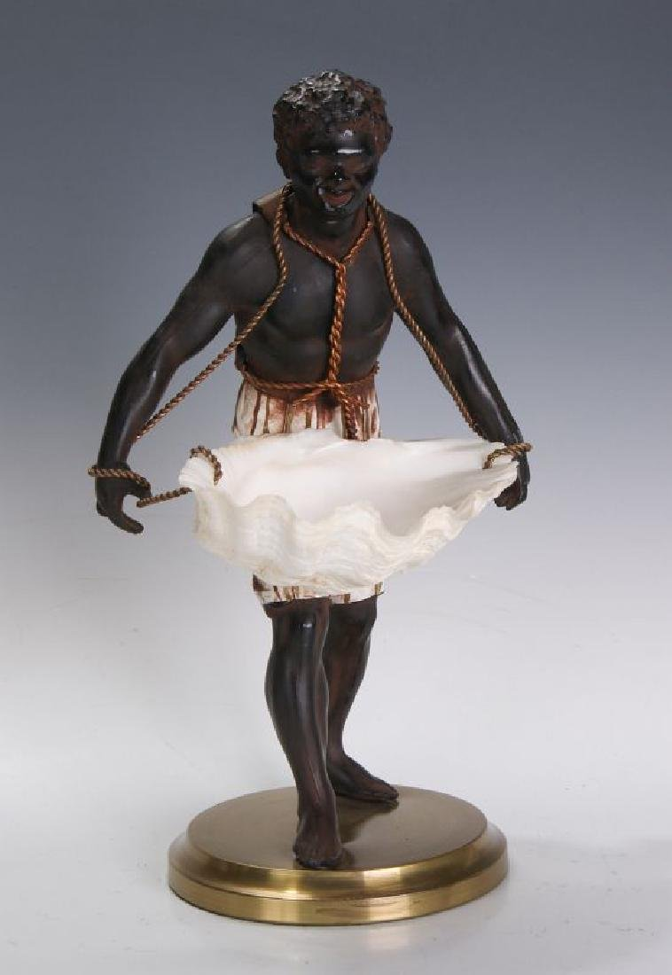 A MID 20TH C. FRENCH CAST METAL BLACKAMOOR FIGURE