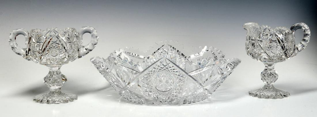 ABP CUT GLASS FOOTED CREAMER AND SUGAR WITH BOWL