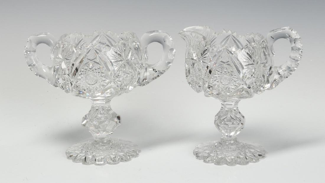 ABP CUT GLASS FOOTED CREAMER AND SUGAR WITH BOWL - 2