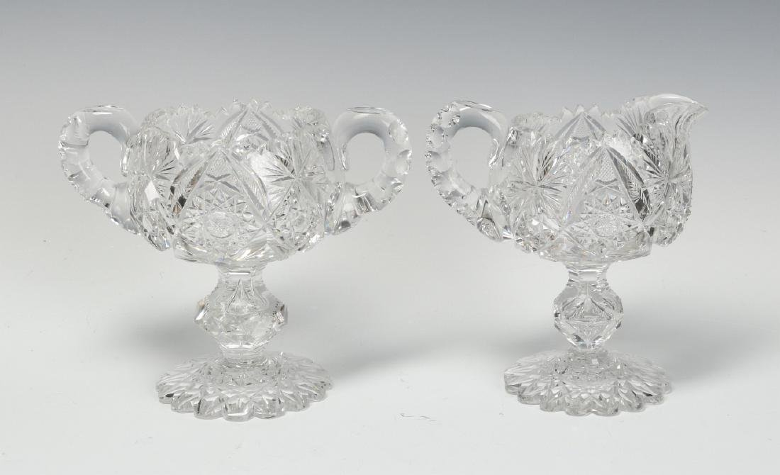ABP CUT GLASS FOOTED CREAMER AND SUGAR WITH BOWL - 5