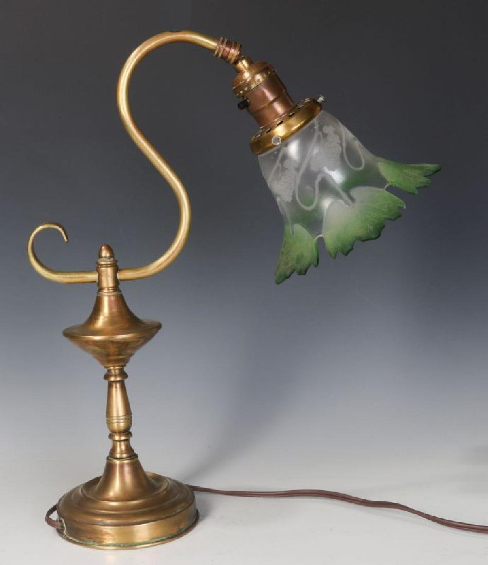 A BRASS LAMP WITH UNUSUAL CUT BACK SHADE C. 1900 - 5