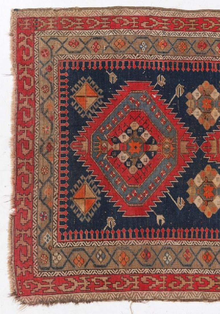 AN ANTIQUE HAND MADE ORIENTAL RUG AND BAG FACE - 3