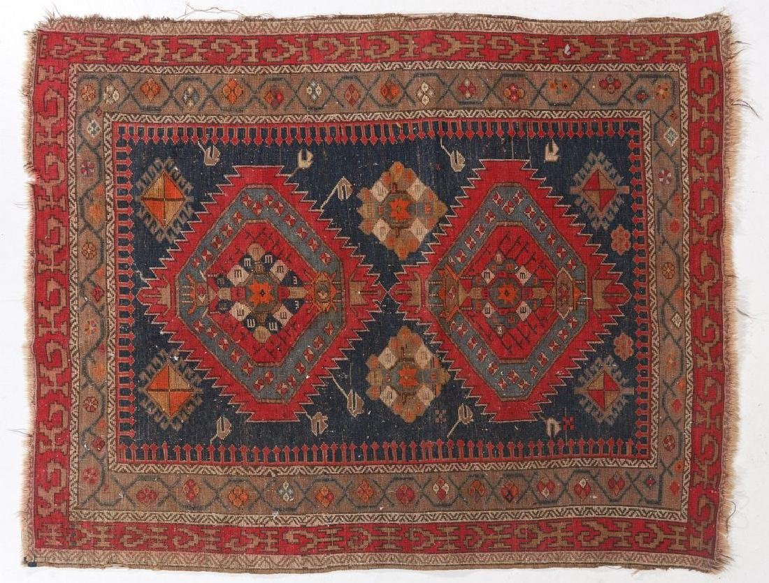 AN ANTIQUE HAND MADE ORIENTAL RUG AND BAG FACE - 4