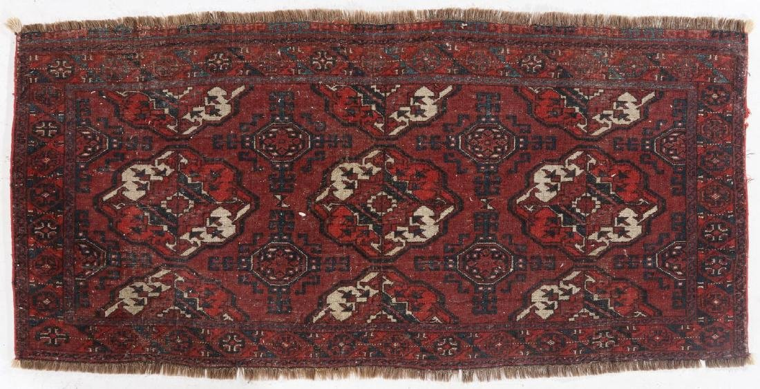 AN ANTIQUE HAND MADE ORIENTAL RUG AND BAG FACE - 9