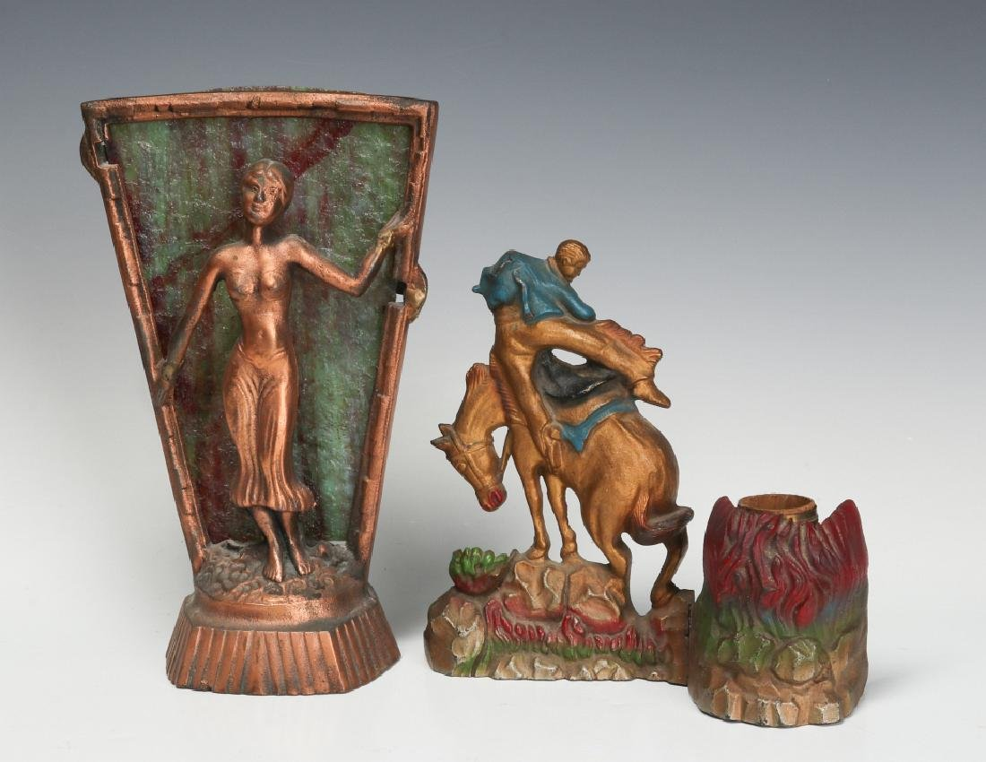 TWO UNUSUAL 1930s CAST IRON NOVELTY LAMPS