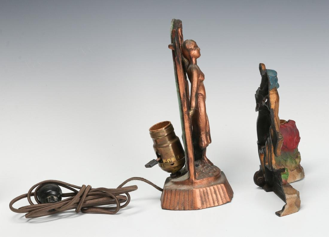 TWO UNUSUAL 1930s CAST IRON NOVELTY LAMPS - 9