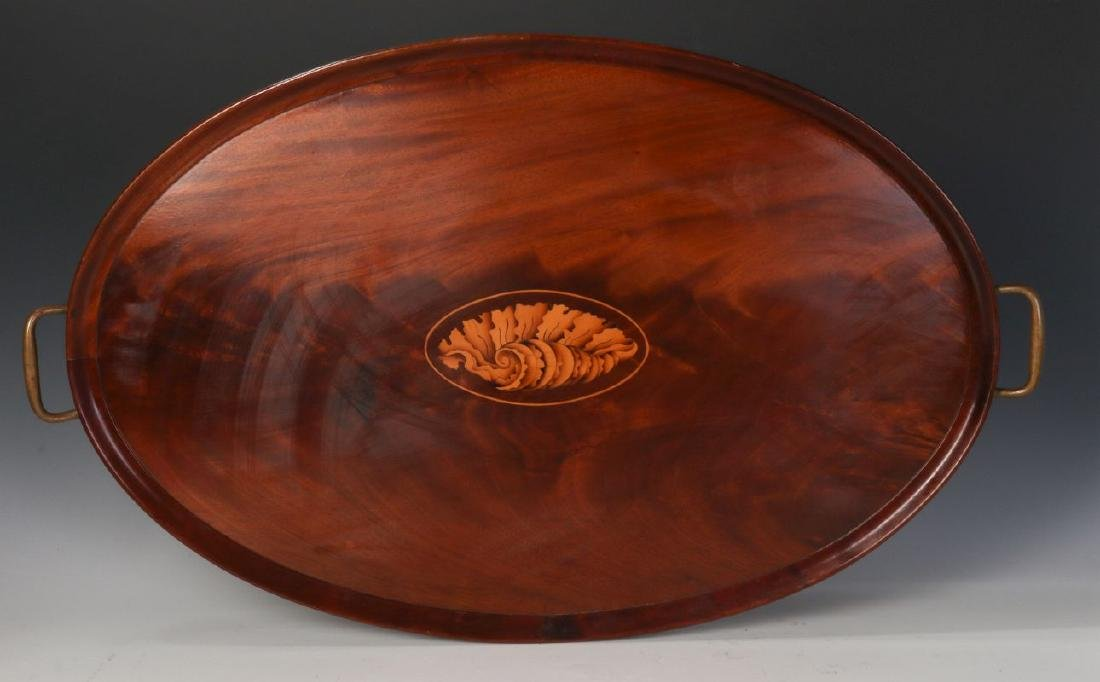 AN EARLY 20TH C COWAN CHICAGO INLAID MAHOGANY TRAY